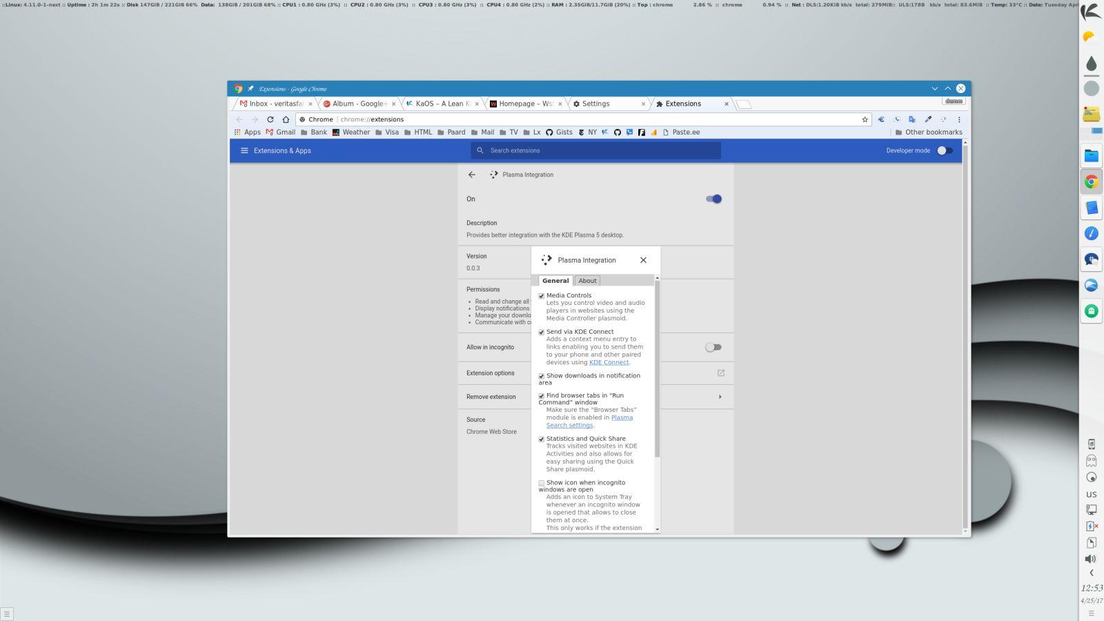 Extensión para integrar Google Chrome en KDE Plasma 5