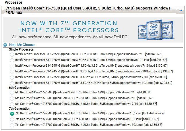 Procesadores ofrecidos con el Dell Precision 5720