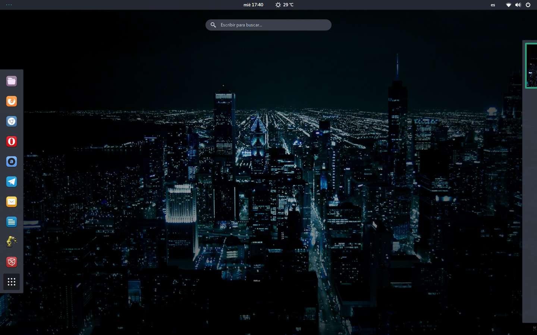 Cómo queda el dash de GNOME Shell tras colocar muchos iconos