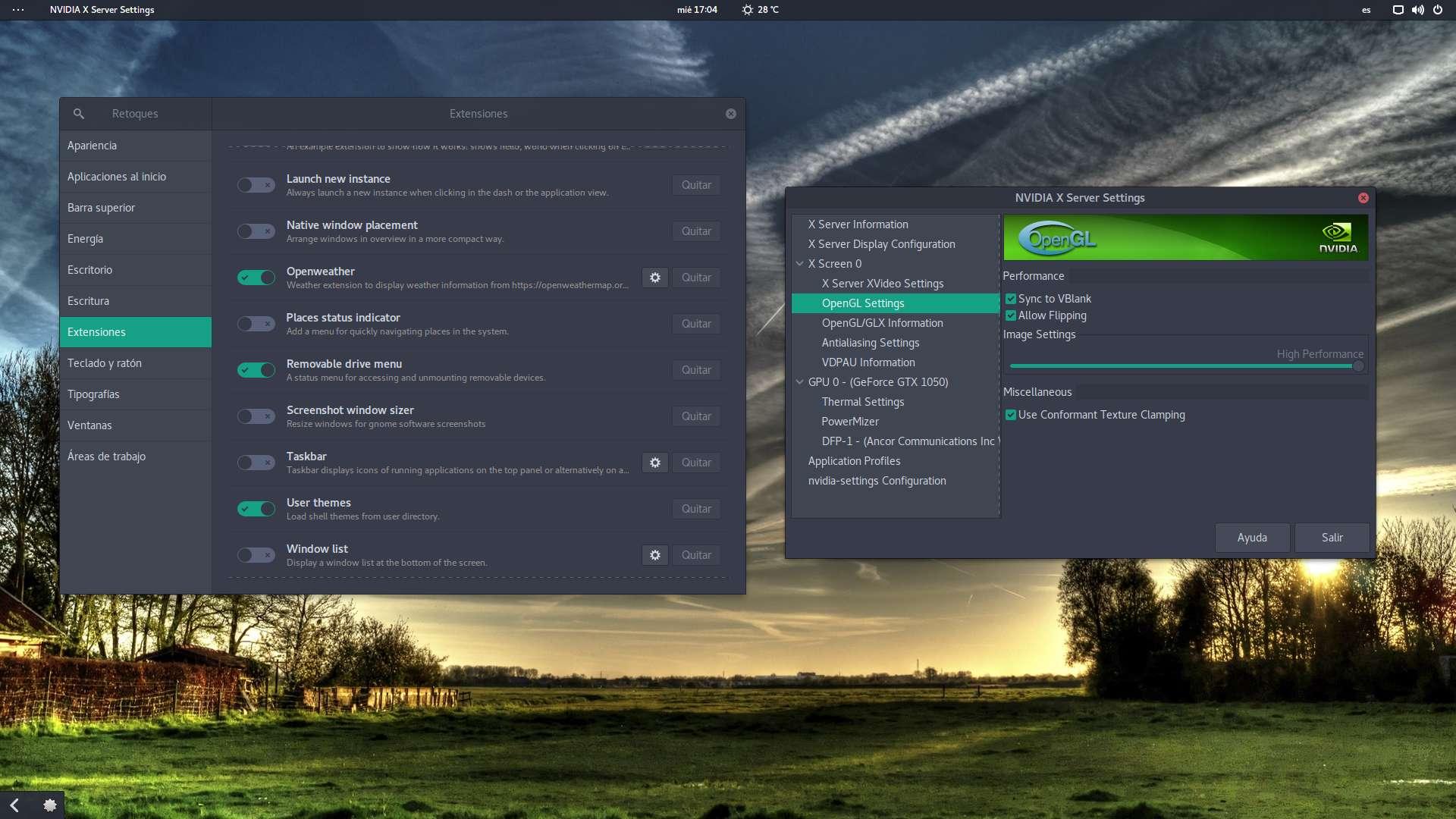 Extensiones usadas por Eduardo Medina en Manjaro GNOME
