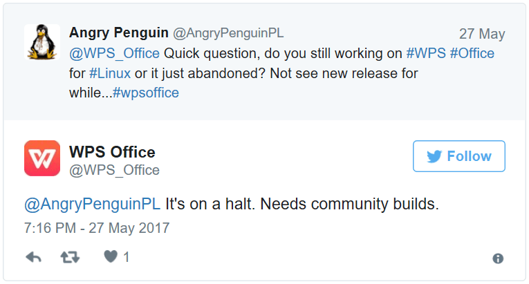 Tweet de WPS Office