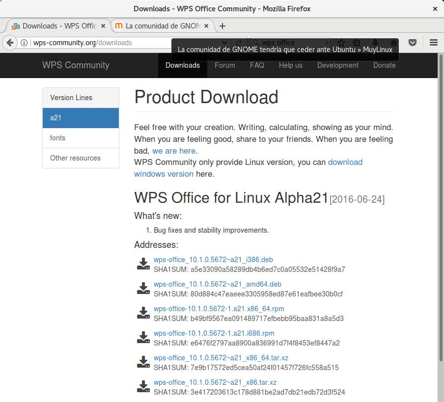 Se ve que WPS Office no ha sido actualizado en realidad