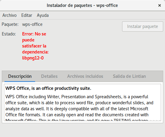 Dependencias incumplidas cuando se intenta instalar WPS Office en Ubuntu 17.04