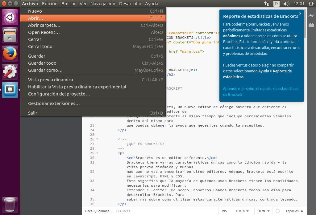 Brackets 1.11 sobre Ubuntu 16.04
