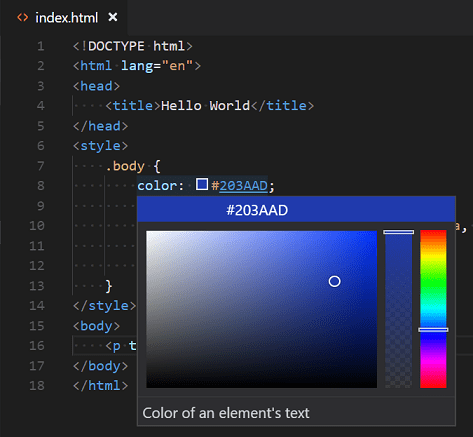 Selector de color de Visual Studio Code