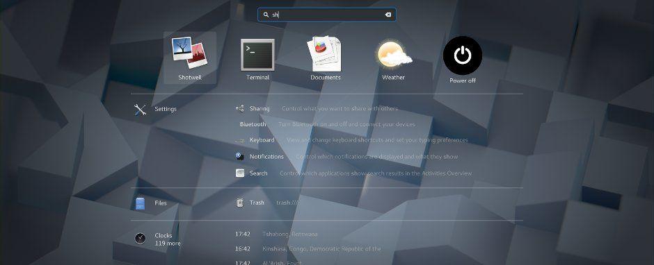 Nueva búsqueda de escritorio de GNOME