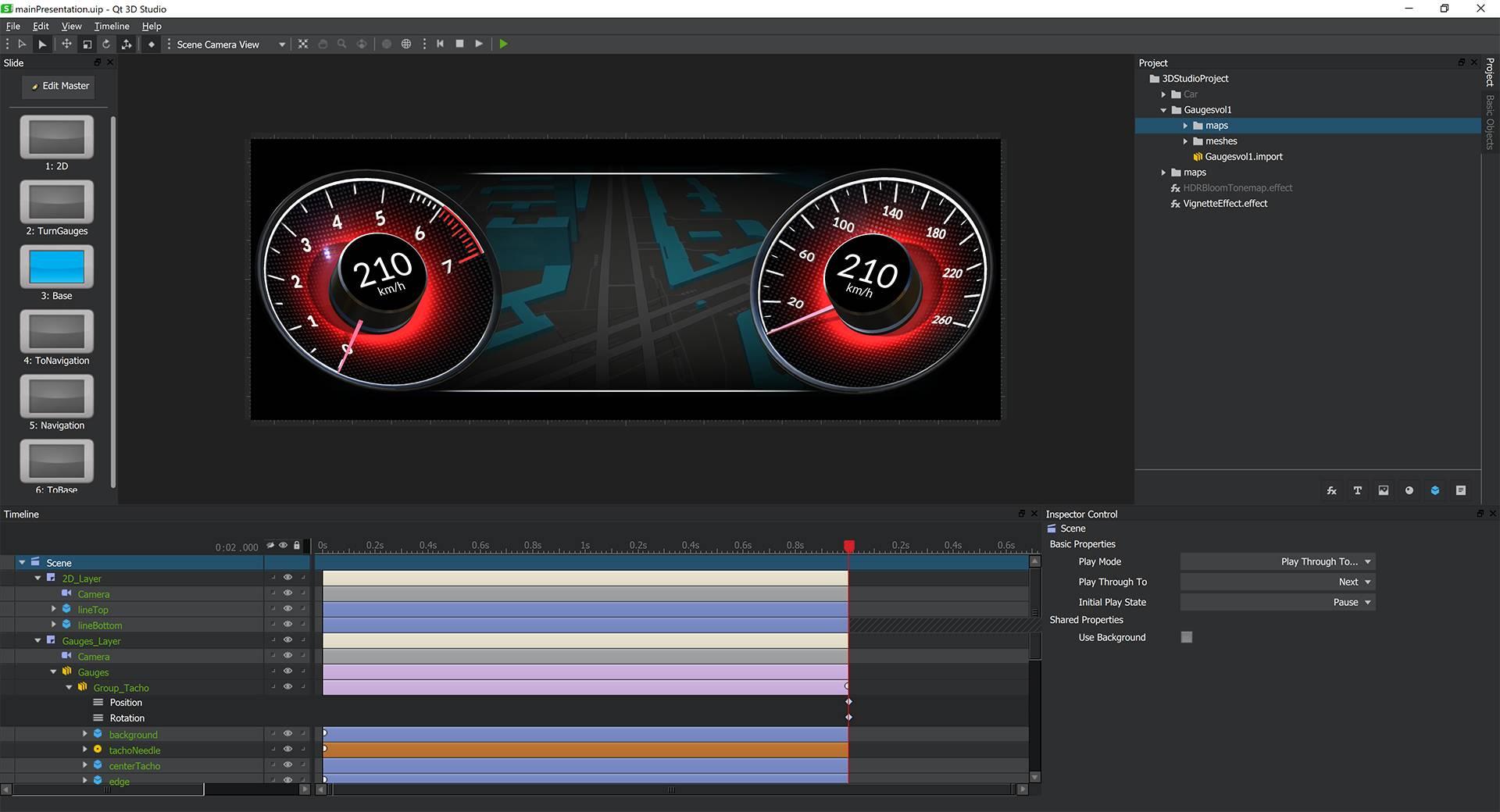 Interfaz de Qt 3D Studio