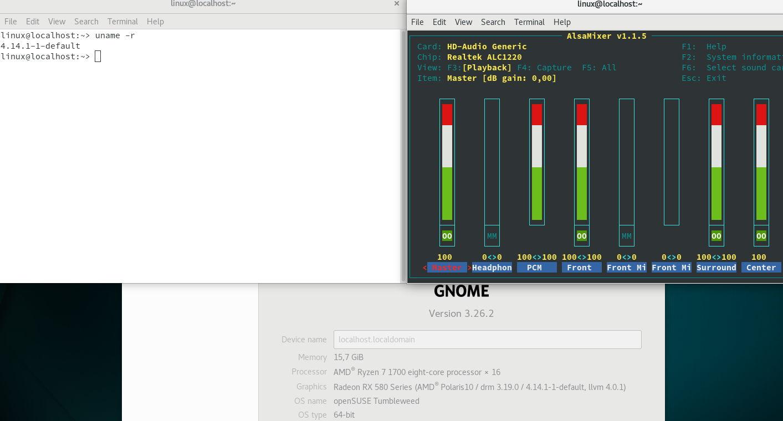 Realtek ALC1220 identificado como una tarjeta de sonido genérica sobre openSUSE Tumbleweed y una placa base ASUS ROG Strix X370-F Gaming