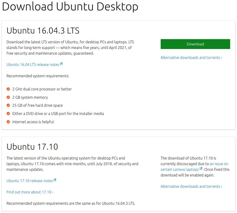 Enlace de descarga de Ubuntu 17.10 desaparecido