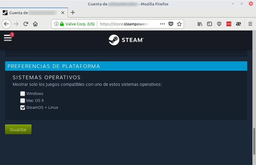 Mostrar solo juegos para GNU/Linux y SteamOS en Steam