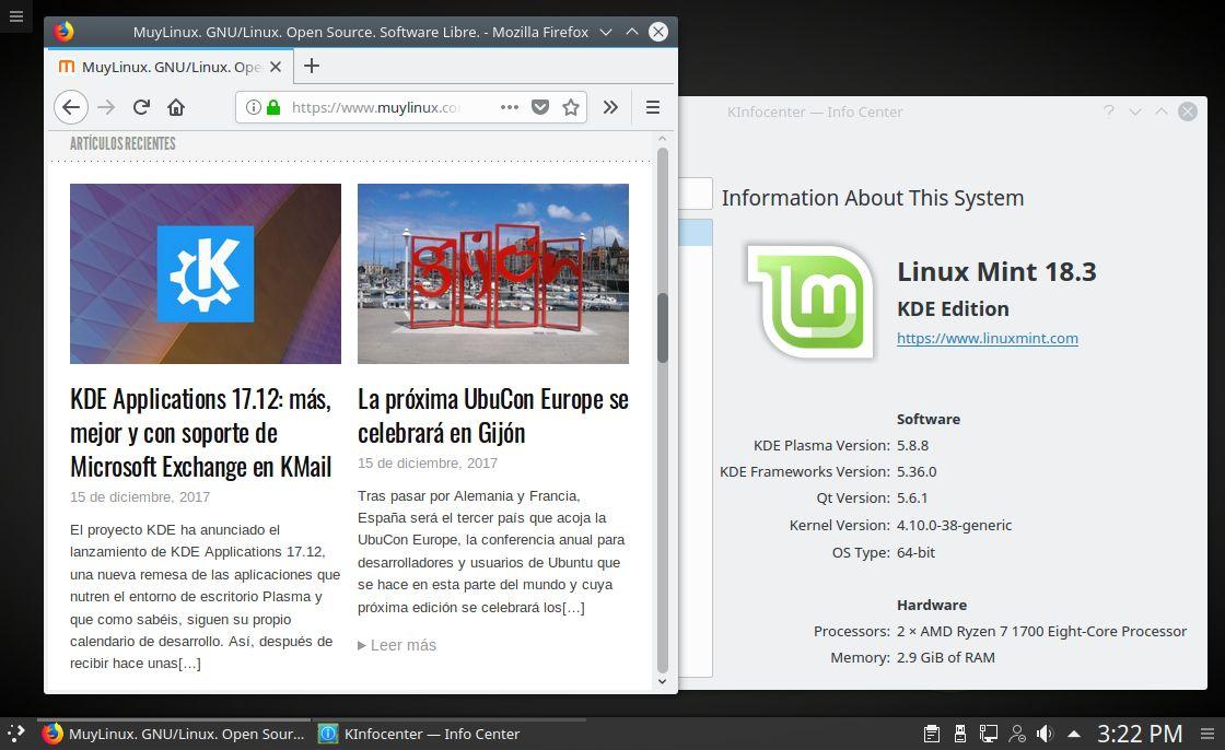 Pantallazo de Linux Mint 18.3 KDE
