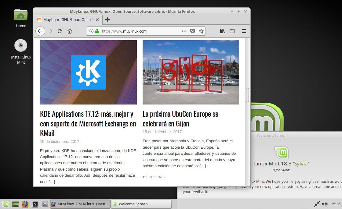 Pantallazo de Linux Mint 18.3 XFCE
