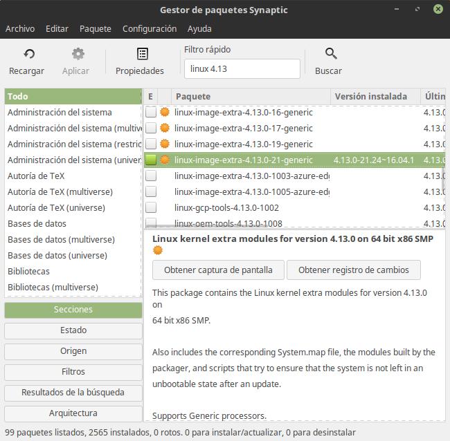 Buscando Linux 4.13 en los repositorios de Ubuntu 16.04