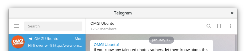 Cómo se ve actualmente Telegram Desktop sobre GNOME Shell