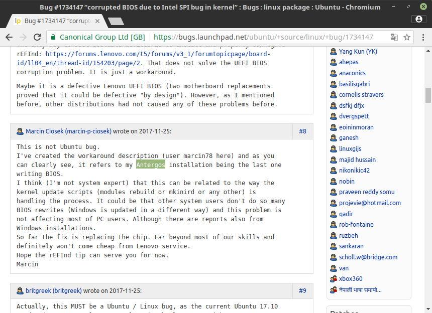 Presunto usuario de Antergos reportando que la BIOS de su portátil ha acabado corrupta por el problema que afectaba a Ubuntu 17.10