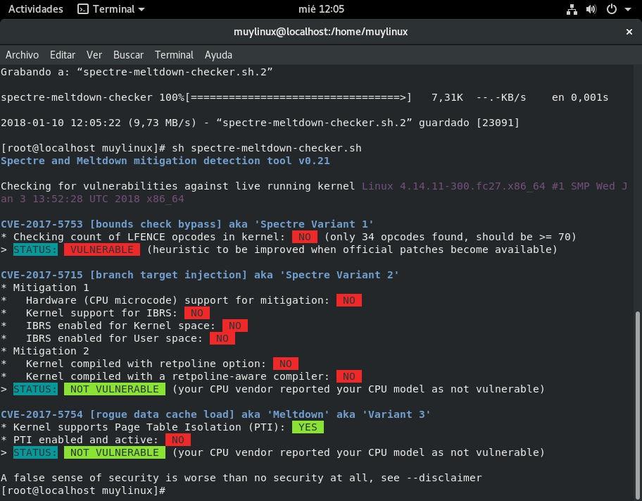 Resultado de spectre-meltdown-checker.sh sobre Fedora 27