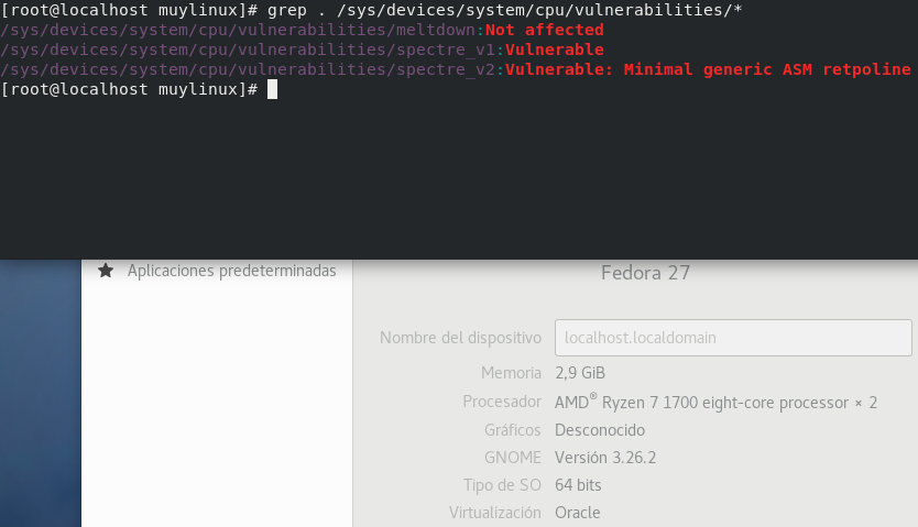 Vulnerabilidades Meltdown y Spectre desde Linux vanilla (Fedora)