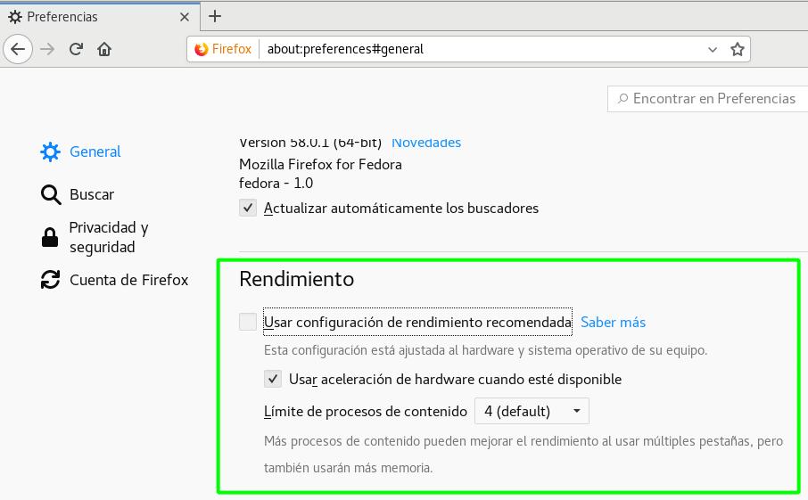 Aceleración por hardware en Firefox