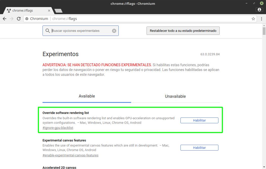 Forzando la aceleración por hardware en Google Chrome y Chromium