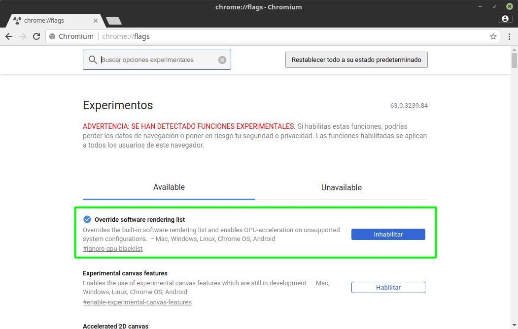 Aceleración por hardware forzada en Google Chrome y Chromium