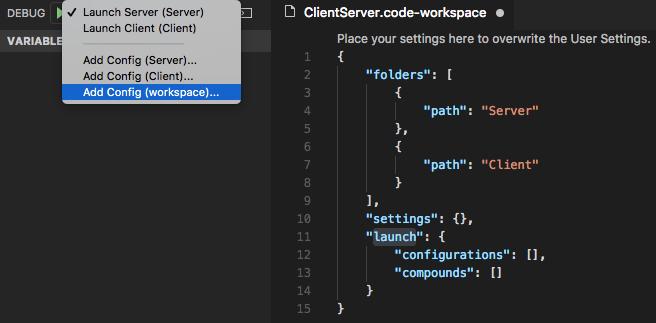 espacio de trabajo multiraíz en Visual Studio Code 1.20