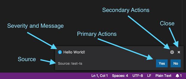Nuevas notificaciones de Visual Studio Code