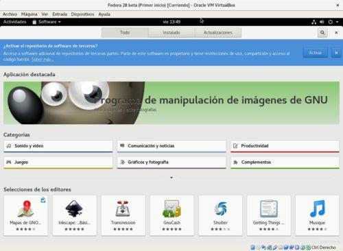 Activar los repositorios de terceros en Fedora 28 mediante GNOME Software