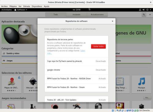 Activar los repositorios de terceros en Fedora 28 mediante GNOME Software (RPM Fusion)