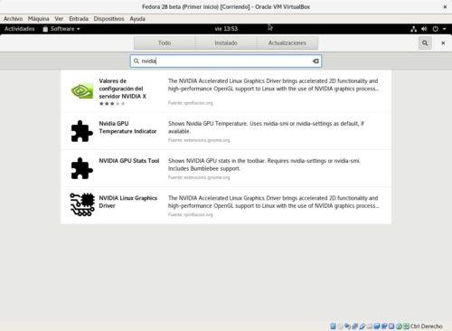 Buscando el driver de NVIDIA tras habilitar los repositorios de terceros en Fedora 28