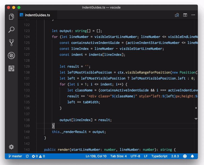 Resaltado de sangría Visual Studio Code 1.23