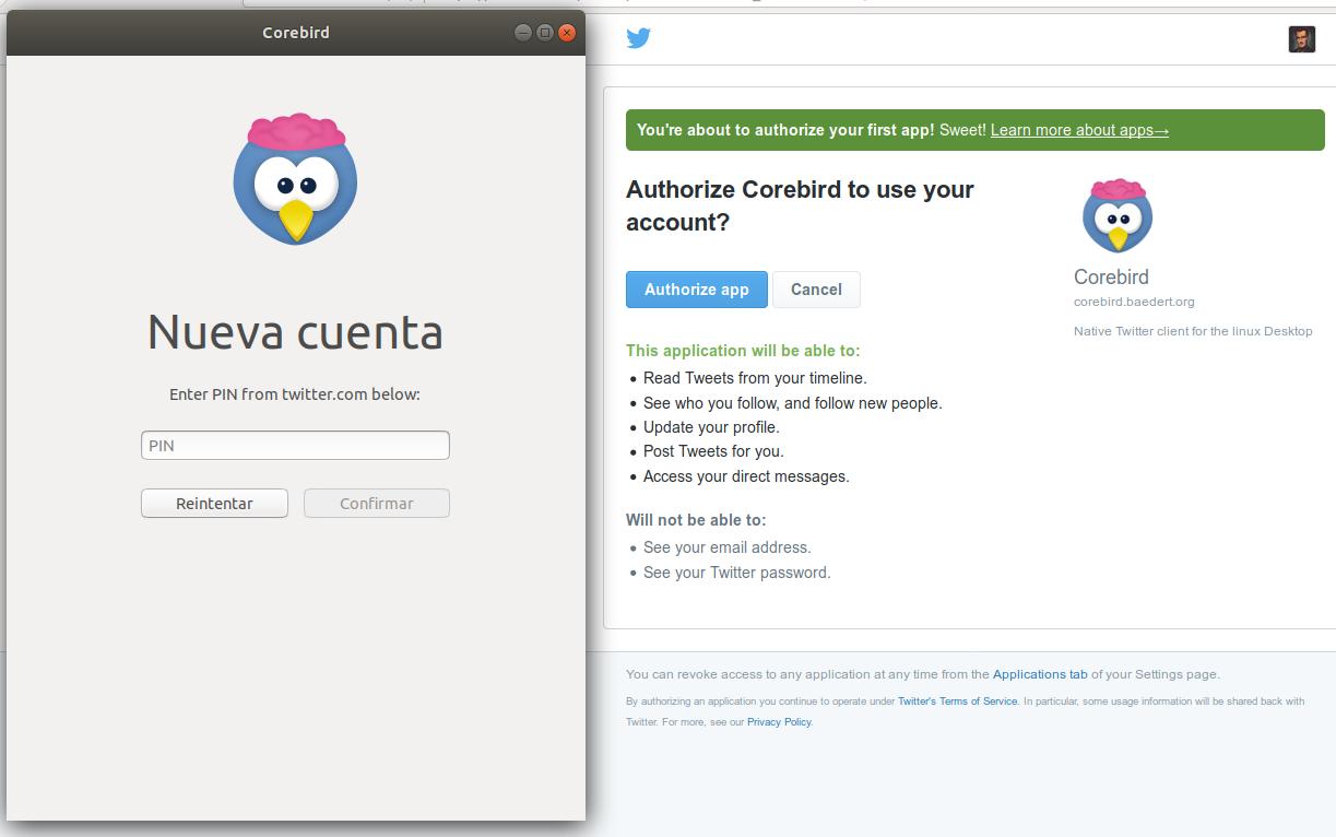 Solicitud de autorización a Twitter para poner en funcionamiento Corebird