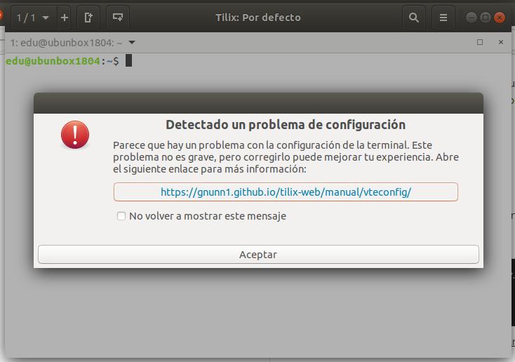 Fallo de Tilix cuando es iniciado por primera vez en Ubuntu 18.04