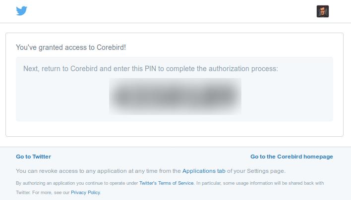 PIN de Twitter para autorizar el acceso a Corebird