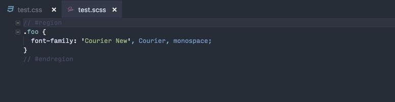 Regiones CSS en Visual Studio Code 1.23