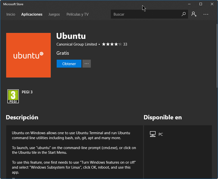 Ubuntu Linux para Windows 10 sobre ARM