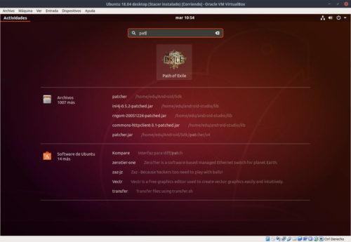 Buscando Path of Exile instaldo con Winepack en el lanzador de aplicaciones de Ubuntu