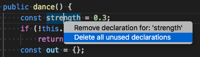 Borrar variables sin usar en Visual Studio Code 1.24