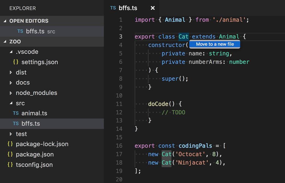 Mover código JavaScript o TypeScript a un nuevo fichero en Visual Studio Code 1.24