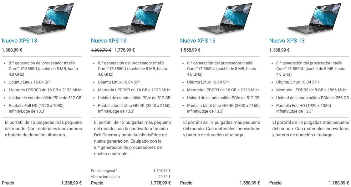 Dell XPS 13 sin Ubuntu 18.04 LTS en la tienda de Dell para España