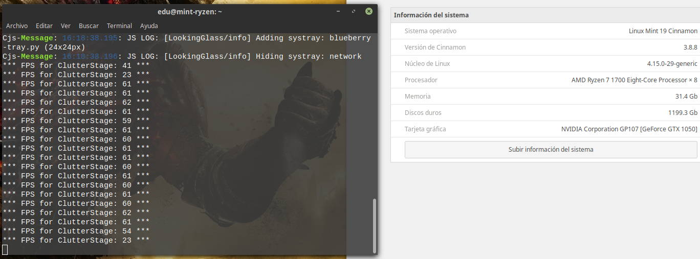 Frames por segundo tras agitar enérgicamente la ventana de la terminal en Linux Mint 19 y Cinnamon 3.8.8 con la sincronización vertical activada