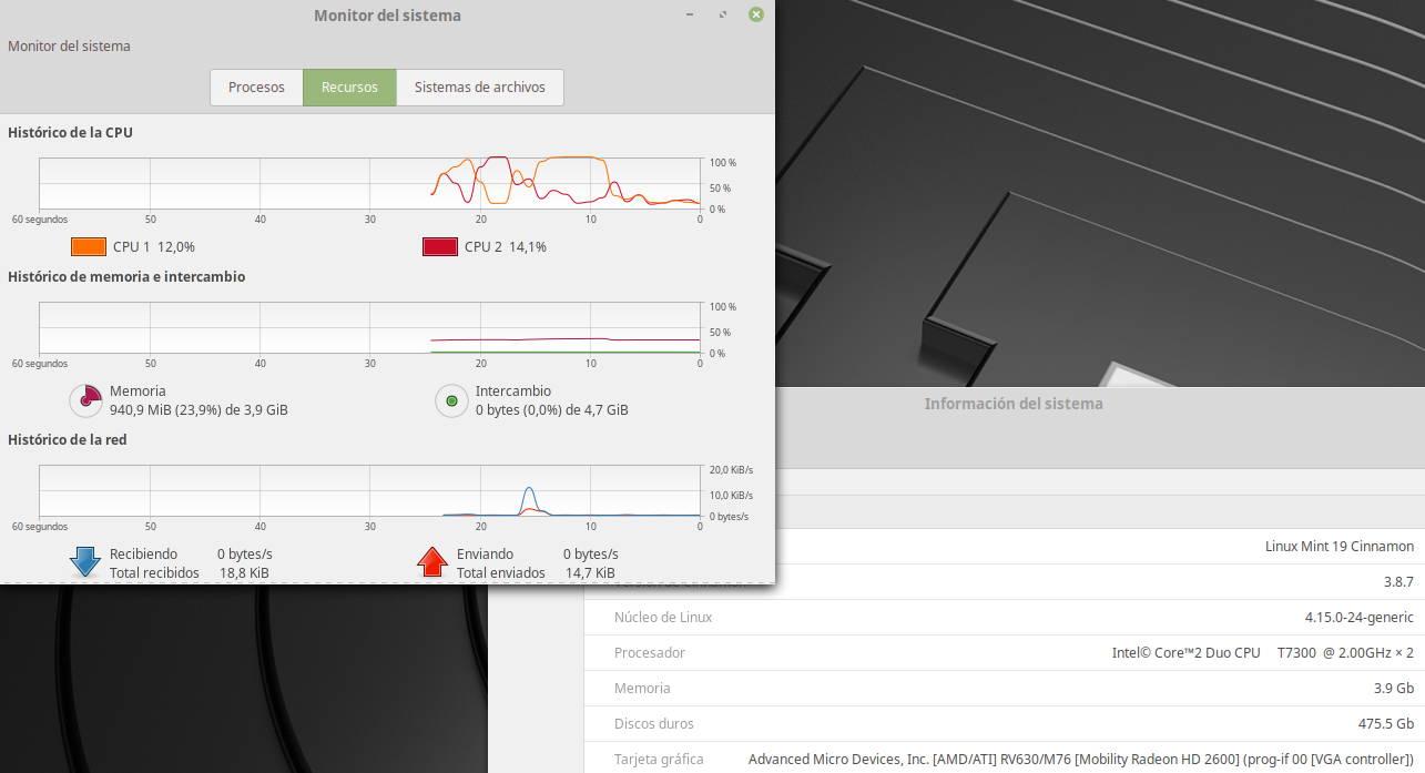 Linux Mint 19 'Tara' ejecutado en un ordenador con solo 4GB de RAM