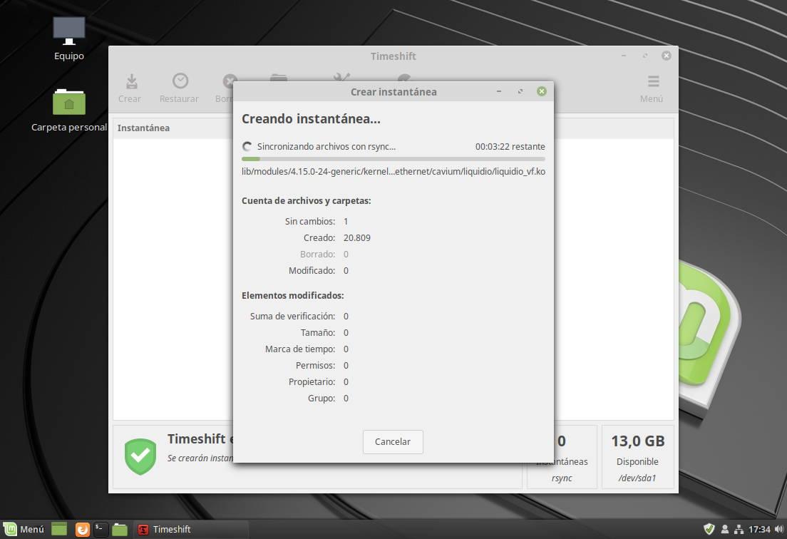 Timeshift en accion en Linux Mint 19 'Tara'
