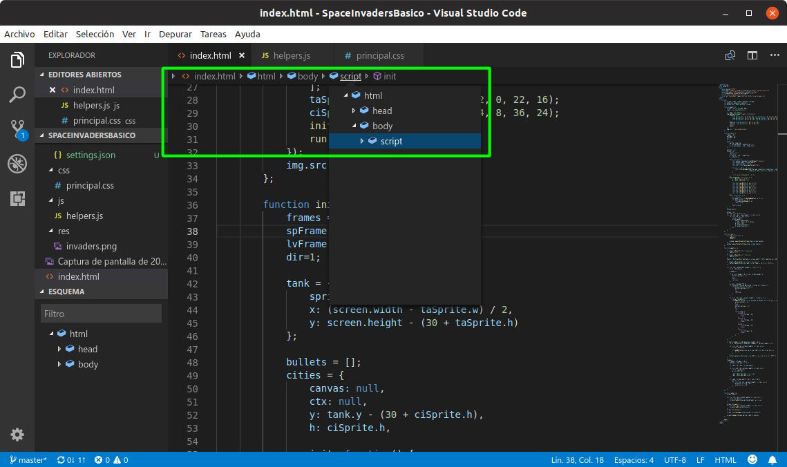 Breadcumb en Visual Studio Code 1.26