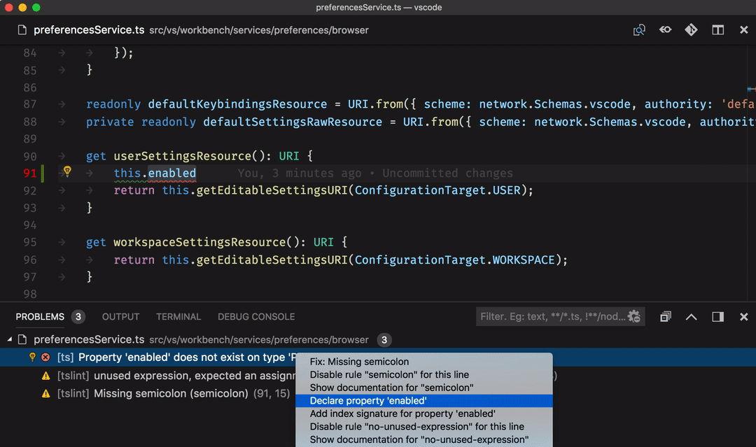 Corrección de errores en Visual Studio Code 1.26