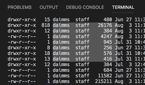 Sección de columna en la terminal integrada de Visual Studio Code 1.26