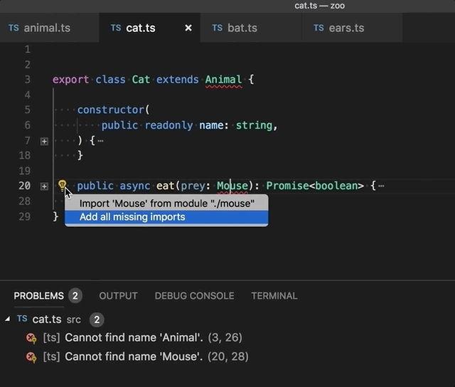 Corrección rápida a la hora de programar JavaScript-TypeScript sobre Visual Studio Code 1.26
