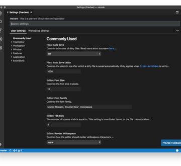 Preferencias mediante interfaz grafica en Visual Studio Code 1.26