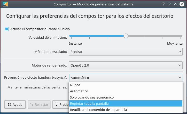 Configuración de Kwin desde la interfaz gráfica de KDE Plasma 5 para forzar la sincronización vertical