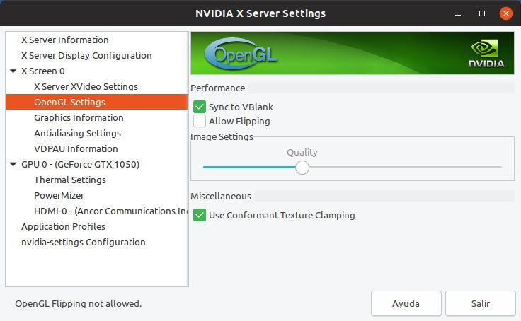 Inhabilitación del flipping en el driver de NVIDIA para Linux