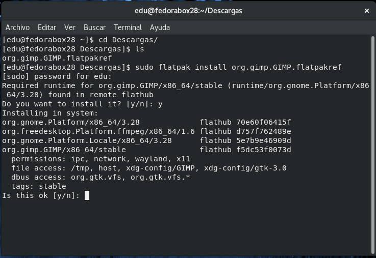 Instalando GIMP desde un paquete Flatpak descargado